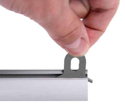 Banner Hanger Clamp Rail - aluminum holder for medium and large banners. Inserting eyelets.