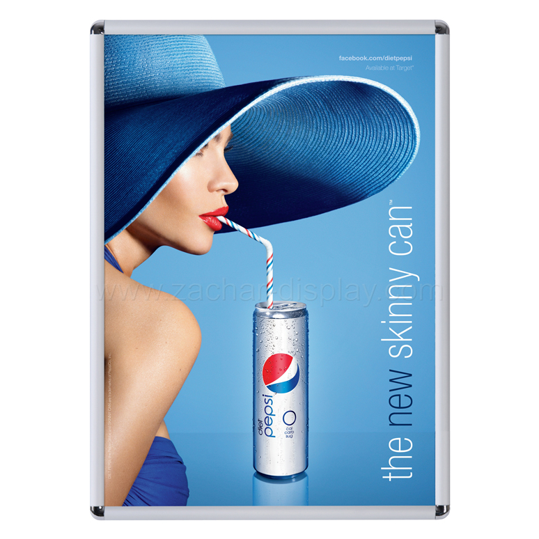 24x36 Poster Frame classic rounded with Pepsi ad. Aluminum Poster Holder in silver color..