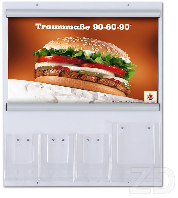 Poster Hanger Snap Rail - snap rail on a board display. Aluminum poster holder. Poster hanging and light banner hanging.