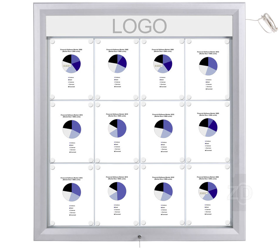Bulletin Board Lockable with light. Aluminum display for outdoors. An enclosed magnetic board and whiteboard. Fits 12 pages.