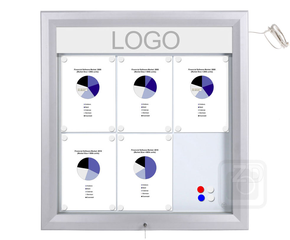 Bulletin Board Lockable with light. Aluminum display for outdoors. An enclosed magnetic board and whiteboard. Fits 6 pages.