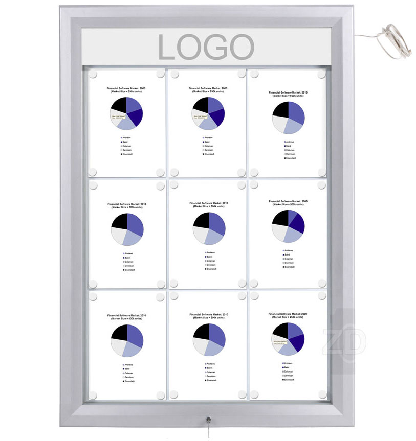 Bulletin Board Lockable with light. Aluminum display for outdoors. An enclosed magnetic board and whiteboard. Fits 9 pages.