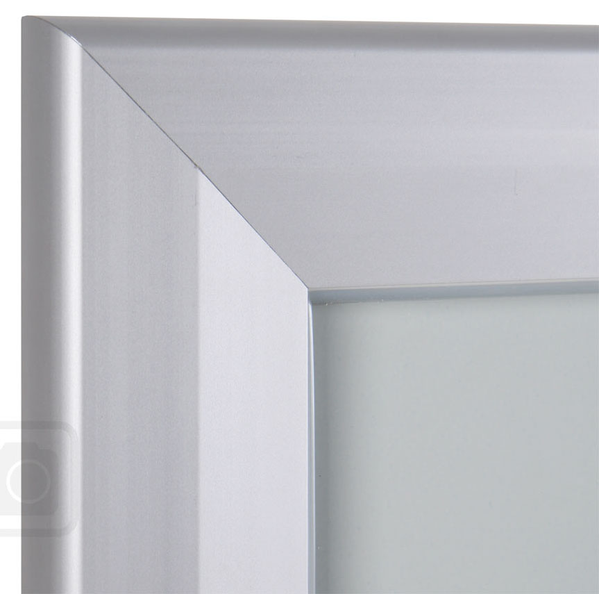 Bulletin Board Lockable. Aluminum display for outdoors. An enclosed magnetic board and whiteboard. Closed corner view.