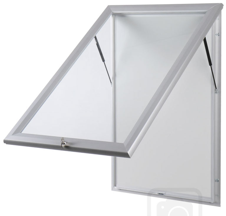 Bulletin Board Lockable. Aluminum display for outdoors. An enclosed magnetic board and whiteboard. Open view.
