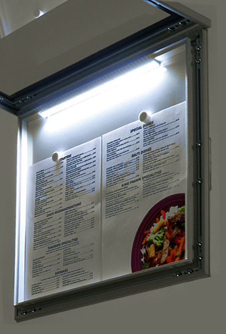 Menu Display Lockable with light. Aluminum display for outdoors. An enclosed magnetic board and whiteboard. LED view.