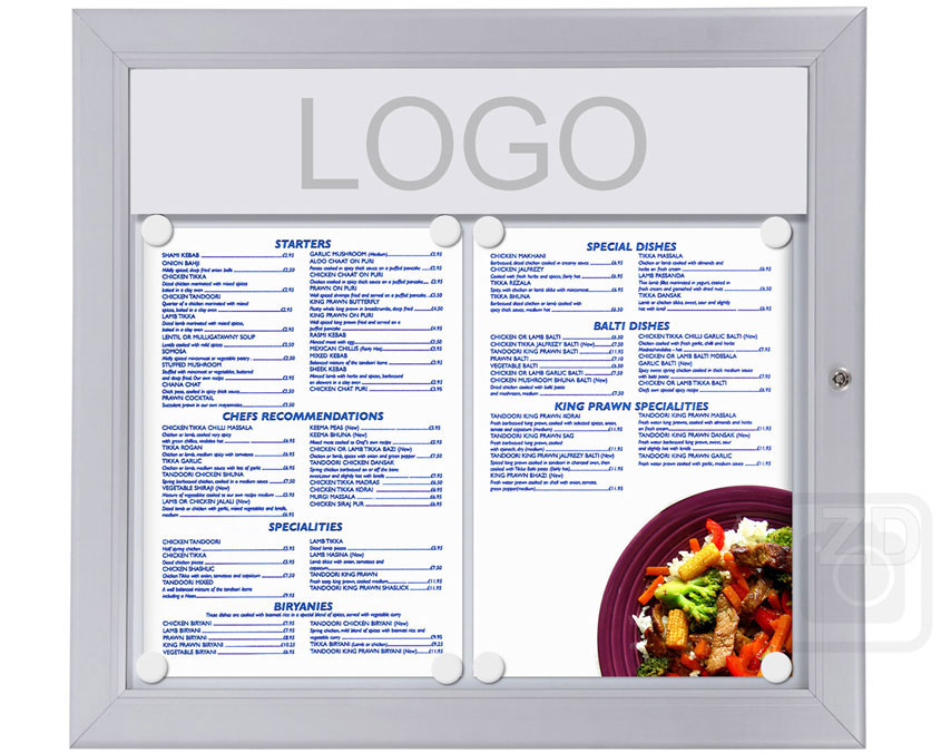 Menu Display Lockable. Aluminum display for outdoors. An enclosed magnetic board and whiteboard. Fits 2 pages.
