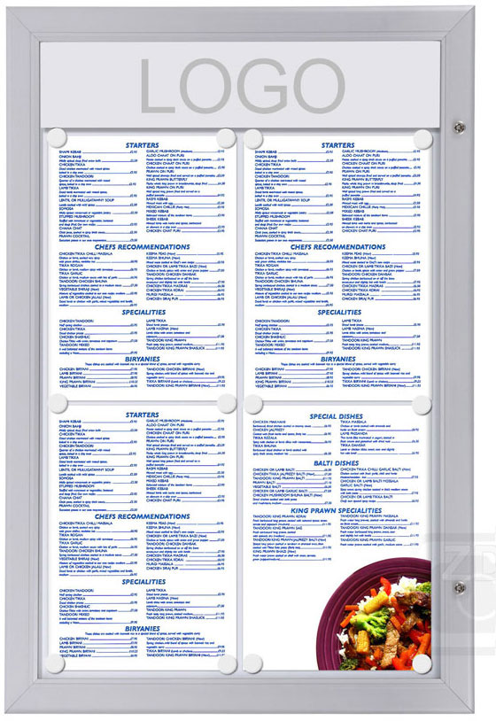 Menu Display Lockable. Aluminum display for outdoors. An enclosed magnetic board and whiteboard. Fits 4 pages.