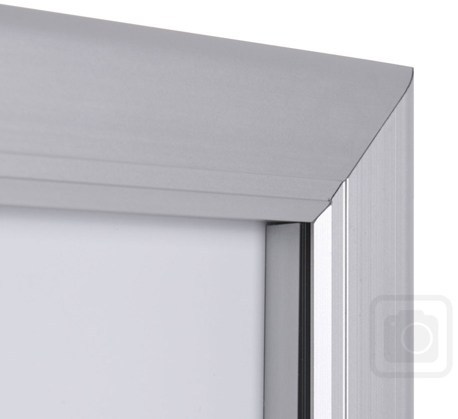 Menu Display Lockable. Aluminum display for outdoors. An enclosed magnetic board and whiteboard. Closed corner view.