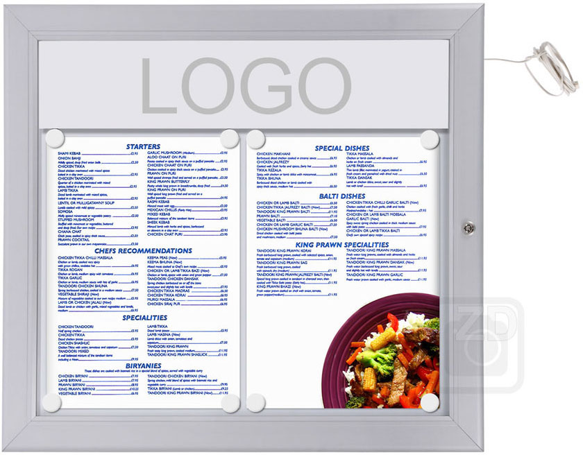 Menu Display Lockable with light. Aluminum display for outdoors. An enclosed magnetic board and whiteboard. Fits 2 pages.