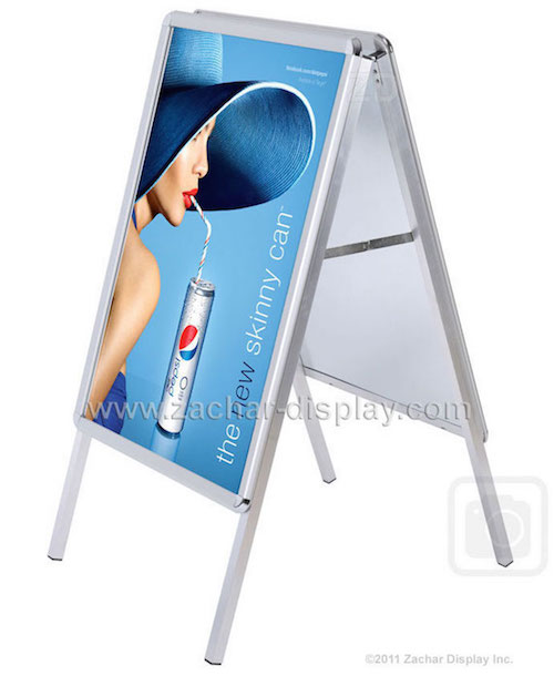 Sidewalk Sign A-Frame image. They are double-sided sandwich boards, equipped with aluminum poster frames.