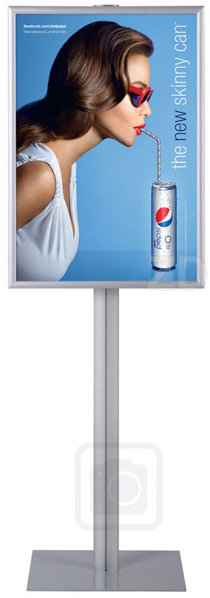 Sign Stand - Info Pole Large - Innovative display stand with snap frame, great for poster and brochure presentation.