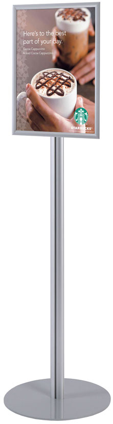 Sign Stand - Info Pole small - Innovative display stand with snap frame, great for poster and brochure presentation.